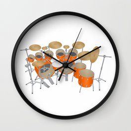 Orange Drum Kit Wall Clock
