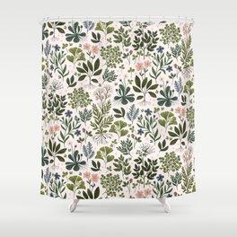Herbarium ~ vintage inspired botanical art print ~ white Shower Curtain
