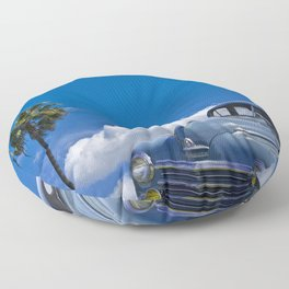 Vintage Blue Plymouth Automobile against Palm Trees and Cloudy Blue Sky Floor Pillow