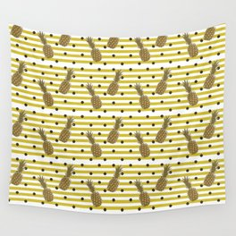 Fun with Pineapples -dots stripes Wall Tapestry