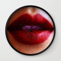 water colour Wall Clocks featuring Lips in Water Colour by Mike van der Hoorn