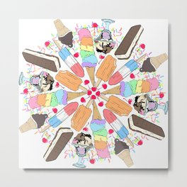 Ice Cream Mandala Metal Print