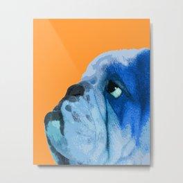 English bulldog portrait. Yellow pop art. Metal Print