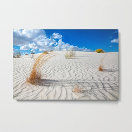 Playground - Vibrant Plant Life and Sandy Textures at White Sands New Mexico Metal Print