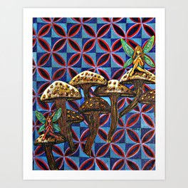 Mushrooms with Fairies Art Print