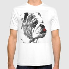 Bulldog Pop Art - How Bout A Kiss 2 - By Sharon Cummings MEDIUM White Mens Fitted Tee