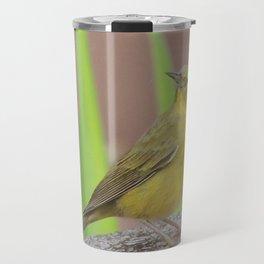 Yellow Warbler at the Fountain Travel Mug