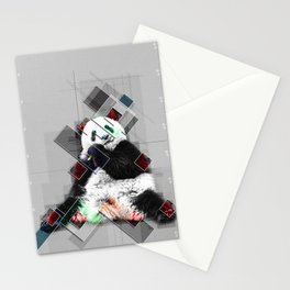 Cute colorful collage Panda Stationery Cards