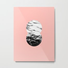 two marble circles on peach Metal Print