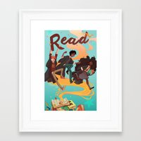 read Framed Art Prints featuring Read! by Loquacious Literature