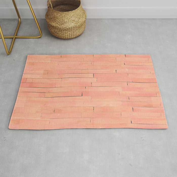 Peach Wooden Planks Wall Rug By Textures