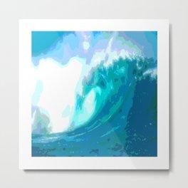 poster paint wave modern home design Metal Print