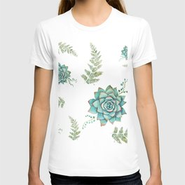Fern and Succulent Pattern T-shirt