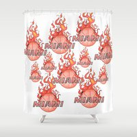 nba Shower Curtains featuring HEAT HAND-DRAWING DESIGN by SUNNY Design