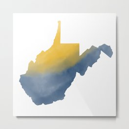 West Virginia State Map Watercolor Art 2 Gifts Metal Print