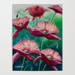 Opium Poppies Oil Painting Poster