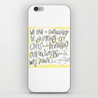 vonnegut iPhone & iPod Skins featuring jumping off cliffs - kurt vonnegut quote by Shaina Anderson