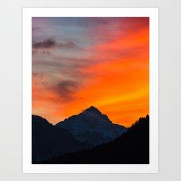 Stunning vibrant sunset behind mountain Art Print