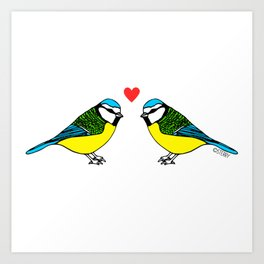 Bluetits in Love Art Print