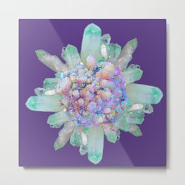 SPARKLING GREEN & PURPLE QUARTZ CRYSTALS PURPLE ART Metal Print
