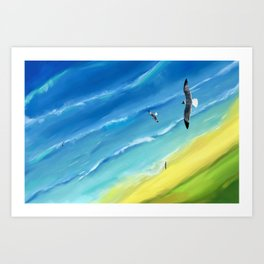 Birds view above sea. Art Print