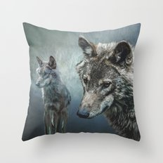 Wolves in moonlight Throw Pillow