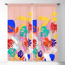 Keep Growing - Tropical plant on peach Blackout Curtain