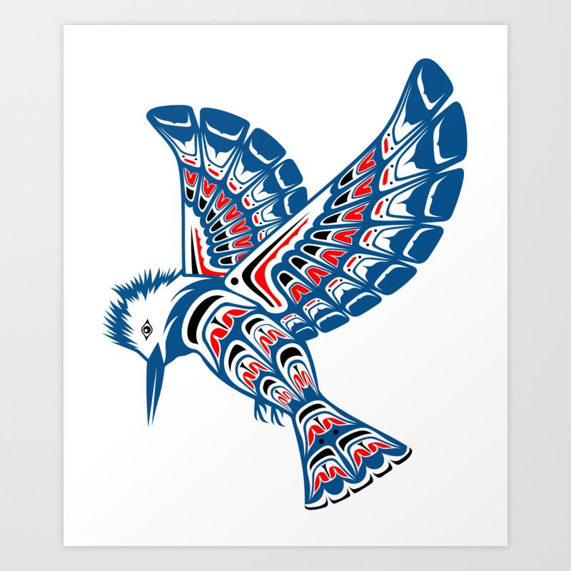 Kingfisher Pacific Northwest Native American Style Art Art Print ...