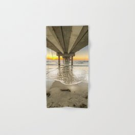 Waves under Clearwater Beach Pier at Sunset Hand & Bath Towel