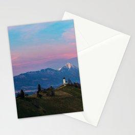 Sunset at Saint Primus in Jamnik, Slovenia Stationery Cards