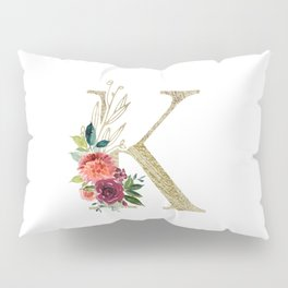 """""""K"""" Initial, Monogram in Gold and Flowers Pillow Sham"""