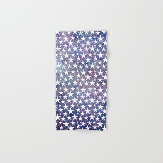 White stars on bold grunge blue background Hand & Bath Towel