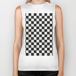 Marble Checkerboard Pattern - Black and White Biker Tank