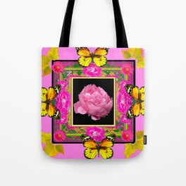 DECORATIVE ORNATE YELLOW BUTTERFLIES & PINK PEONY FLORAL VIGNETTE Tote Bag