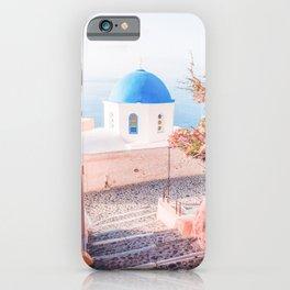 Santorini Greece Pink Old Street Travel photography iPhone Case