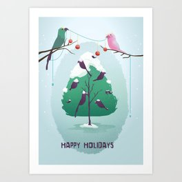 Happy Holidays - A Parrots Christmas  Art Print
