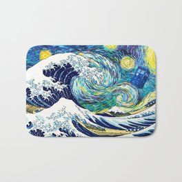 Starry Night Tardis Flying Bath Mat