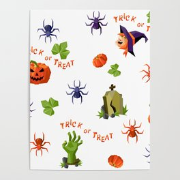 Halloween seamless mixed pattern in low-poly style Poster