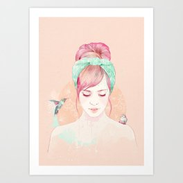 Pink hair lady Art Print