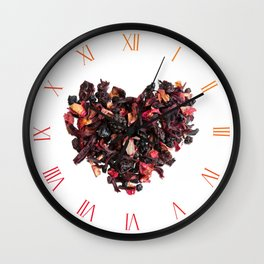 Dried red fruits and petals tea Wall Clock