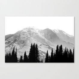 Mount Rainier Black and White Canvas Print