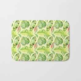 Hand painted green red watercolor tropical cheese leaves Bath Mat