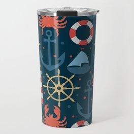 Sea blue pattern Travel Mug