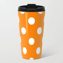 Polka Dots - White on Orange Travel Mug