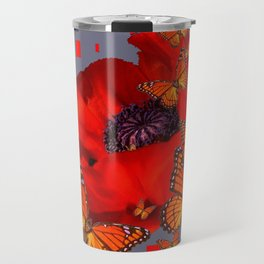 Abstract Red Poppy Monarch Butterflies Yellow-Grey Travel Mug