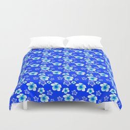 Blue Floral And Turtles Hawaiian Pattern Duvet Cover