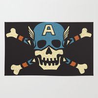 steve rogers Area & Throw Rugs featuring Captain 'Jolly' Rogers  by Locust Years