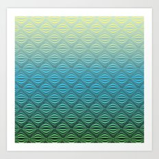 Warp Field (Blue Yellow Green) Art Print