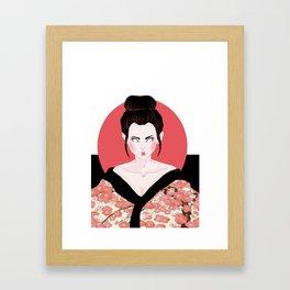 Pink Geisha Girl In Black  Framed Art Print