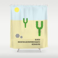 font Shower Curtains featuring CACTUS - Font Love by Luca Milani